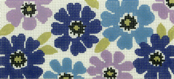 BB74 Lee's Needle Arts Lavender Floral Hand Painted Canvas - 18 Mesh 6in x 2.75in