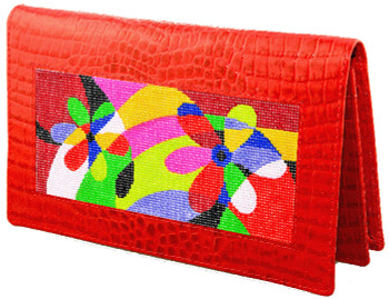 BAG23ARSKU Lee's Needle Arts Red Alligator Leather Wallet W7in. x H4.5in.