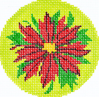 BJ101 Lee's Needle Arts Poinsettia Red Hand-painted canvas - 18 Mesh 3in. ROUND