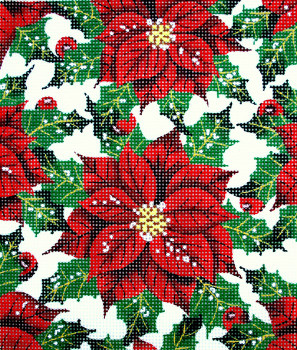 BG99 Lee's Needle Floral, Holly Hand-painted canvas - 18 Mesh