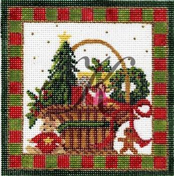 KWP12 December Christmas Basket 4.6 x 4.6 18 Mesh With Stitch Guide KELLY CLARK STUDIO, LLC