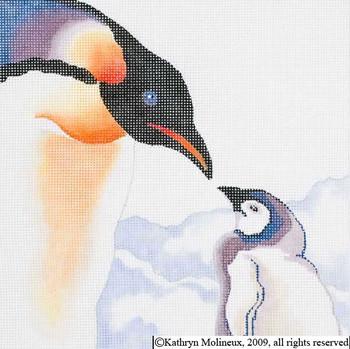 M-427 Squares: Penguins 9 x 9 14 Mesh Shorebird Studio