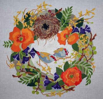 B371 Melissa Prince 14 x 14 Finches in Spring Wreath