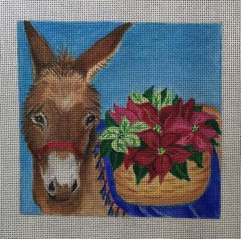 CH153 Poinsettia Donkey 6x6 Nenah Stone Designs 18 Mesh