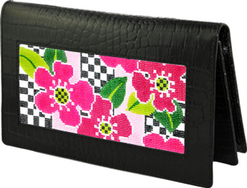 BAG23 Lee's Needle Arts Smooth  Black Leather Wallet  W7in. x H4.5in.