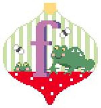 AO106 F Frog Bauble 4 x 4 Kathy Schenkel Designs