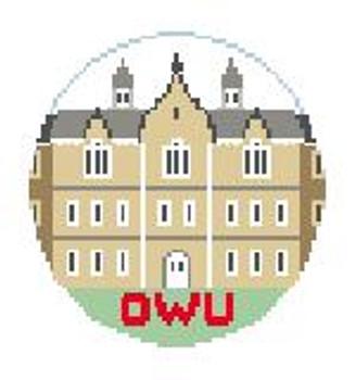 """BT609 Ohio Wesleyan, Merrick Hall Kathy Schenkel Designs  4"""" Diameter"""