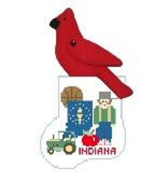 CM419 Indiana State Sock w/Cardinal Kathy Schenkel Designs 3.75 x 4 Mini Sock