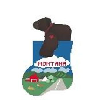 CM448 Montana State Sock w/Grizzly Kathy Schenkel Designs 3.75 x 4  Mini Sock