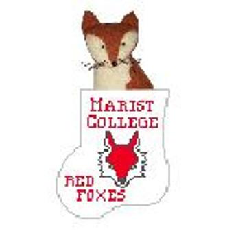 CM475K Marist College w Red Fox Kathy Schenkel Designs 4 x 4 Mini Sock