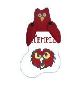 CM474P Temple Owl w/Red Owl Kathy Schenkel Designs  4 x 4 Mini Sock
