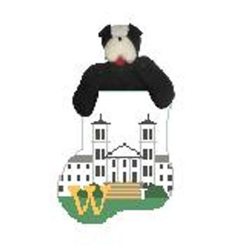 CM474H Wofford C, Old Main w/Terrier Kathy Schenkel Designs  4 x 4 Mini Sock