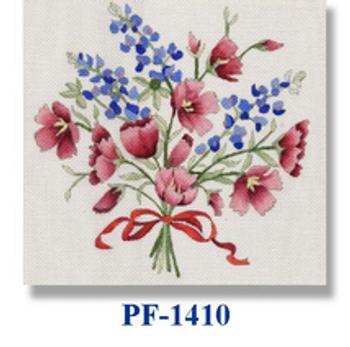 "PF-1410 Wine Cup with Bluebonnet 18  Mesh 12"" Flowers CBK Bettieray Designs"