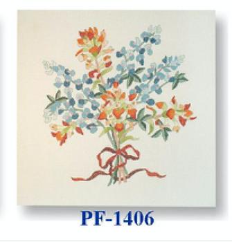 "PF-1406 Bluebonnet with Paintbrush 13 Mesh 12"" Flowers CBK Bettieray Designs"