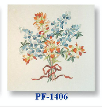 "PF-1406 Bluebonnet with Paintbrush 18 Mesh 12"" Flowers CBK Bettieray Designs"