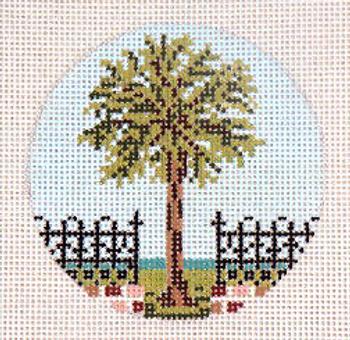 """#324 Palmetto-Gate Ornament 18 Mesh - 3"""" Round Needle Crossings"""