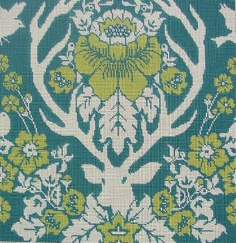 JD4006P Antler Damask-Peacock 14X14   13 Mesh Cooper Oaks Designs