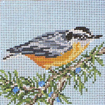 """#1863  Red-breasted Nuthatch Orn 13 Mesh - 4-1/2"""" Square Needle Crossings"""