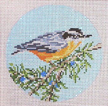"""#1863-SP Red-breasted Nuthatch 4"""" Round  18 Mesh Needle Crossings"""