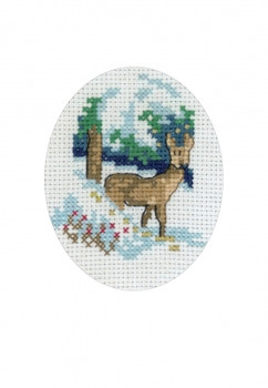 """176271 Permin Kit Reindeer Card & envelope included.; 3.6"""" x 5.2""""; White Aida ; 16ct"""