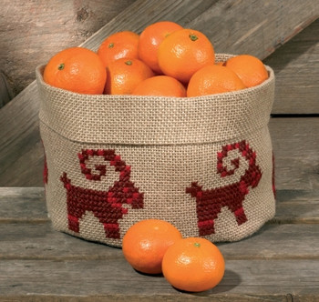 """796218 Permin Kit Christmas Goat Basket Not pre-finished.; 8.4"""" x 6""""; Jute Natural 10ct"""