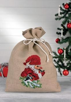 "906507 Permin Kit Bullfinch & Elf Bag Size: 27.2"" x 34"" Fabric: Jute Count: 10ct"