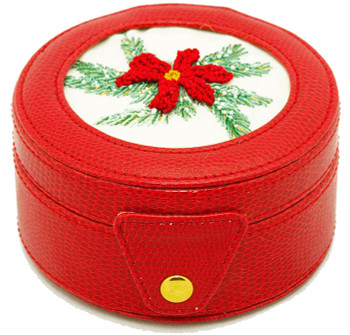 BAG29R Lee's Needle Arts Red round 4in x 2in Gift box, fully lined. Use BJ designs