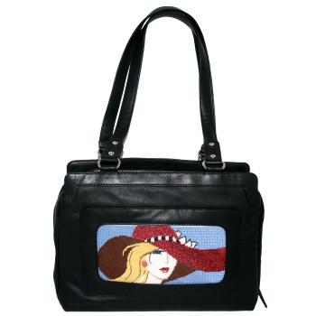 BAG72 Lee s Needle Arts Medium Leather Handbag- Black 9.5