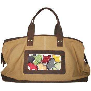 BAG71 Lee s Needle Arts Canvas Duffle Bag - Khaki and Brown 10