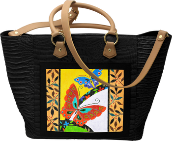 BAG69 Large Leather Tote - Black Alligator 14in x 13in x 6.5in Lee s Needle  Arts 93ded40173