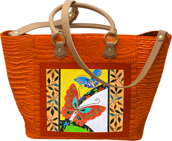 BAG69O Large Leather Tote - Orange Alligator 14in x 13in x 6.5in Lee s  Needle Arts 5c98a93429