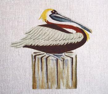 113s Pelican on Piling - small5 x 5 18 Mesh Jane Nichols Needlepoint