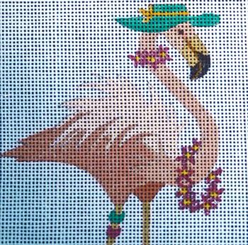 142 Hat/Leis 5 x 5 13 Mesh Flamingo Jane Nichols Needlepoint