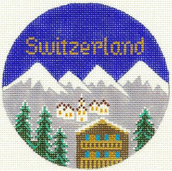 444 Switzerland Ornament  4.25 RD. 18 Mesh Silver Needle Designs