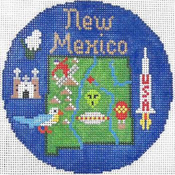 776 New Mexico Ornament 4.25 round18 Mesh Silver Needle Designs