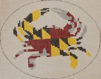 OCR103 Maryland State Flag Crab 5 x 4 18 Mesh Kristine Kingston Needlepoint Designs