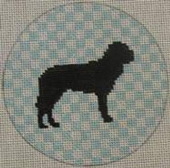 "OAS123 Bull Mastiff 4"" Round 18 Mesh Kristine Kingston Needlepoint Designs"