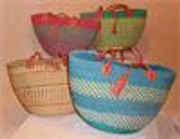 "Shoulder Strap Basket 15""HX10""W.  Two 30""goat hide leather straps Grade A/(Extra smooth inside).  Honeycomb Basket"