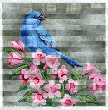 LL317 Indigo Bunting on Pink Flowers 18Mesh 6x6 Labors Of Love