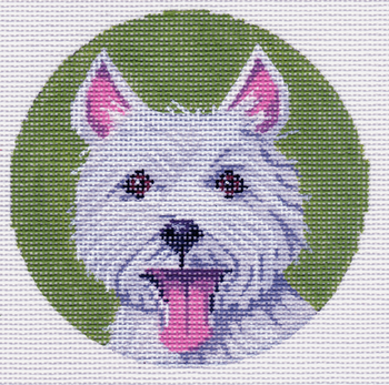 """LL414D-Orn Labors Of Love 18 Mesh  Westie Ornament 4"""" Round"""