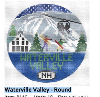 Waterville Valley, New Hampshire Round 4.25 x 4.25 18 Mesh Doolittle Stitchery R116