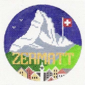 Zermatt Switzerland Round  4.25 x 4.25 18 Mesh Doolittle Stitchery R125