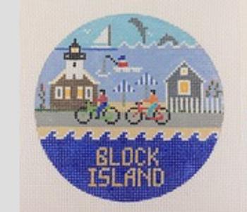Block Island Rhode Island Round 4.25 x 4.25 18 Mesh Doolittle Stitchery R304