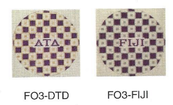 Delta Tau Delta FO3-DTD 4 1⁄2 inch Check Ornament in Fraternity Colors 18 Mesh Kangaroo Paw Designs