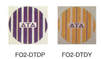 Delta Tau Delta FO2-DTD Yellow 4 1⁄2 inch Stripe Ornament in Fraternity Colors 18 Mesh Kangaroo Paw Designs