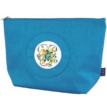 BAG70B Small Silk Bag, Bright Blue Hand-painted canvas