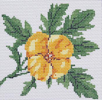 BR345g Barbara Russell Wildflower Coaster Wood Poppy