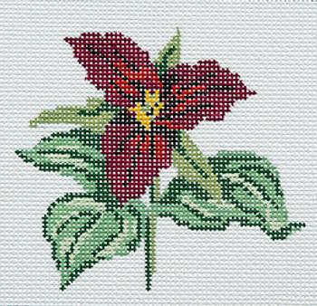 BR345d Barbara Russell Wildflower Coaster Trillium