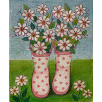 AP2970 Alice Peterson Designs Pink Polka Dot Rainboots  9 X 11 13M