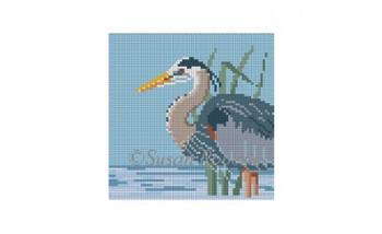 0514C~ Grey Heron, 4x4 18 Mesh Susan Roberts Needlepoint